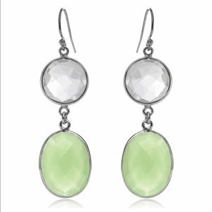 Quartz & Green Chalcedony Double Drop Earrings